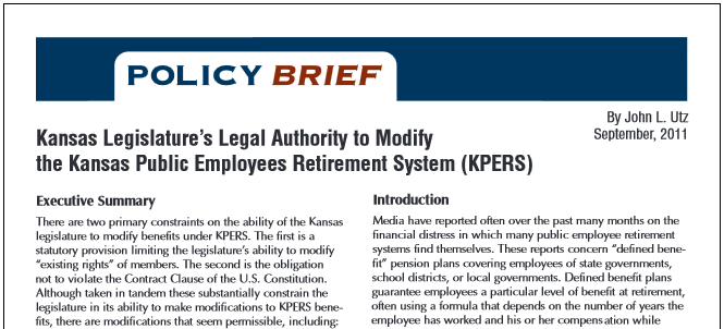 Policy Brief: Kansas Legislature's Legal Authority to Modify the Kansas Public Employees Retirement System (KPERS)