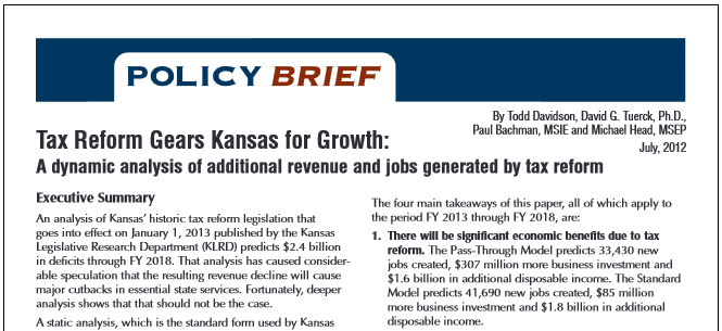 Tax Reform Gears Kansas for Growth
