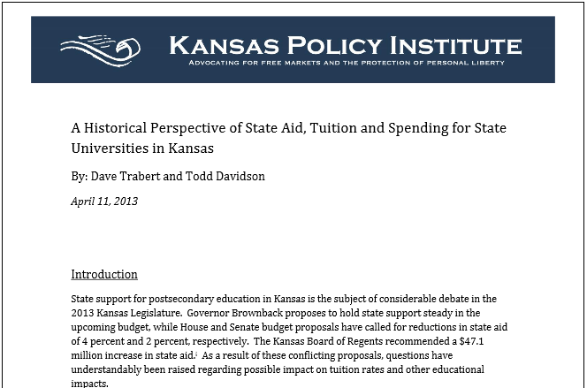 KPI Analysis – A Historical Perspective of State Aid, Tuition and Spending for State Universities in Kansas