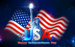 20138063 - illustration of statue of liberty on american flag background for independence day